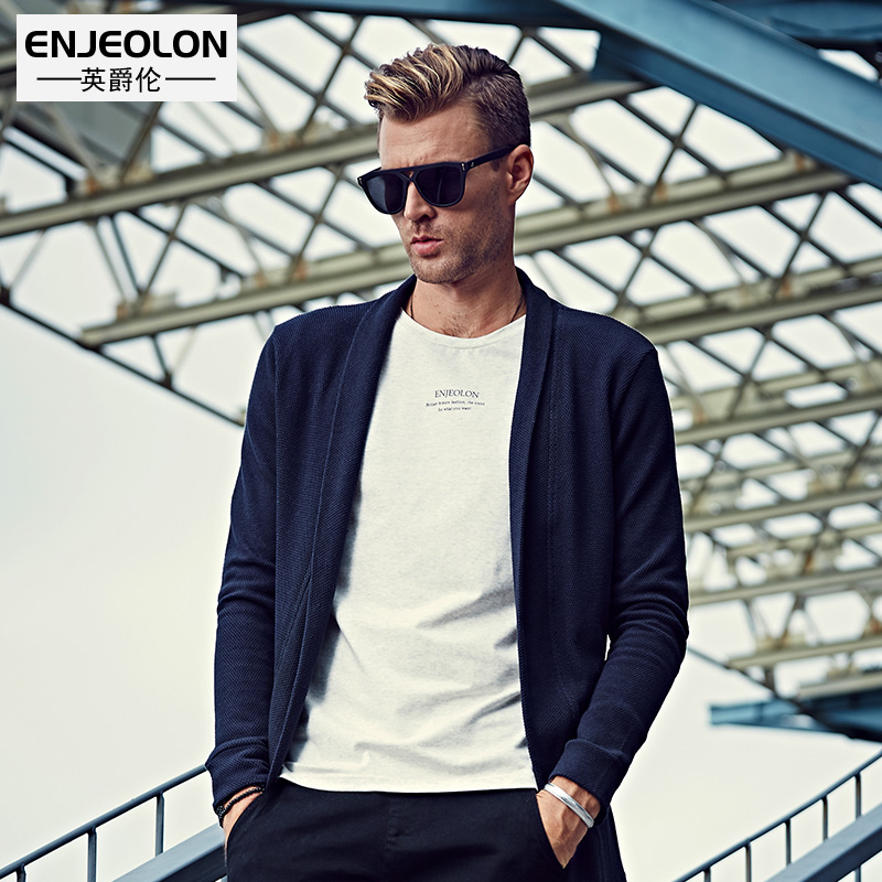 Enjeolon brand 2017 Knitted Cardigan Sweater Men long sleeve turn down Collar casual clothes solid army