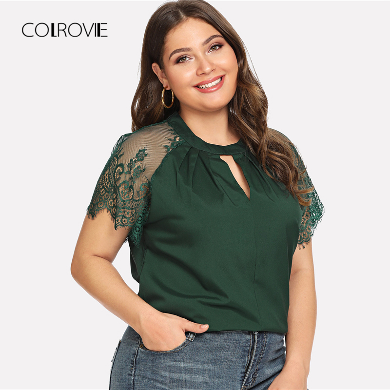 COLROVIE Plus Size Green Workwear Keyhole Pleated Neck Lace Panel Cut Out  Feminine Blouse Shirt 2018 Summer Elegant Women Tops-in Blouses   Shirts  from ... d45fede9e84a