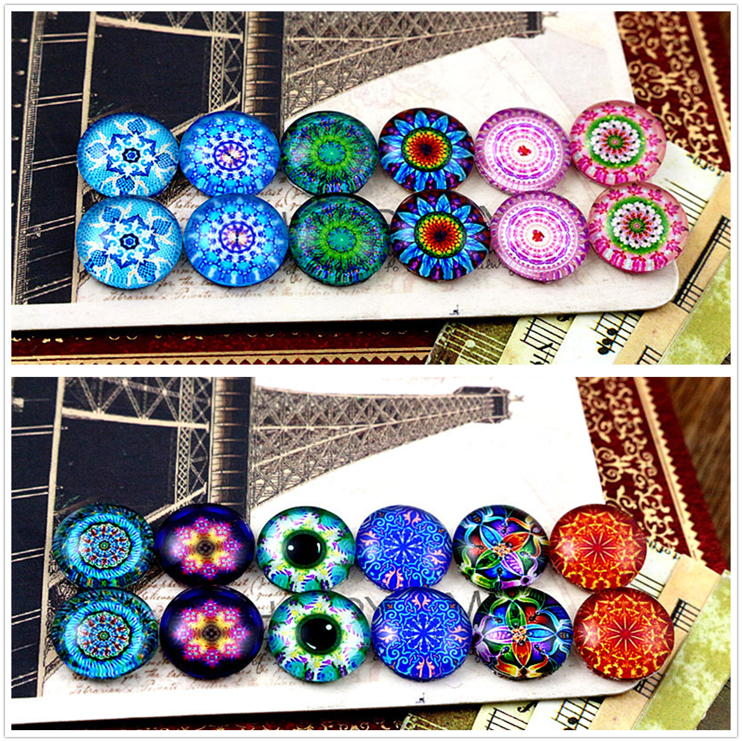 12pcs/lot (One Set) Two Style 12mm Sun Flowers Handmade Glass Cabochons Pattern Domed Jewelry Accessories Supplies