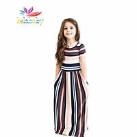 Belababy Brand New Girls Striped Dress Girls Long Maxi Dress Party Princess Kids Clothes Custumes Vestido