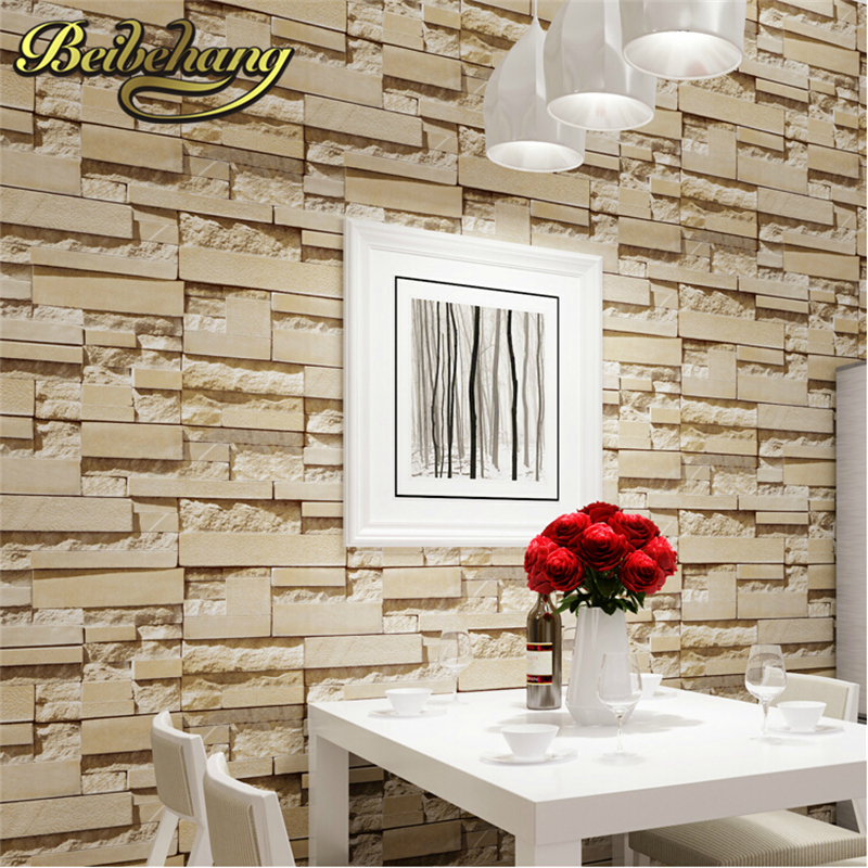 beibehang Stone Brick Vinyl Wallpaper Roll papel de parede 3D Living Room Background Wall Decor Art for walls 3d Wall Paper roll beibehang american retro wallpaper roll desktop living room 3d wall paper home decor tv background green wallpaper for walls 3 d