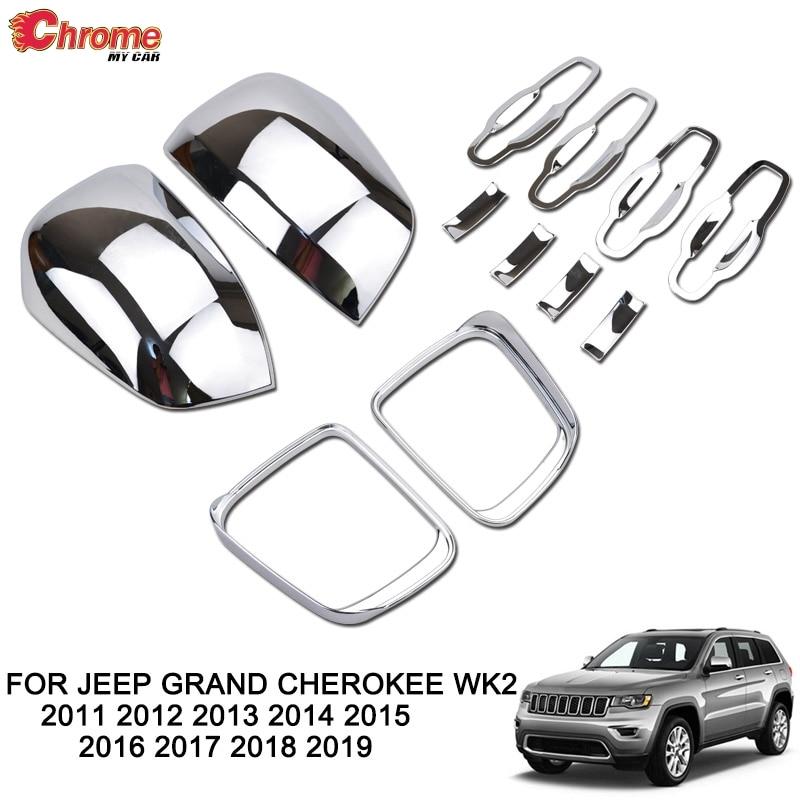 Chrome Smart Key Side Door Handle Keyless Cover Trim For Jeep Cherokee 2014-2019