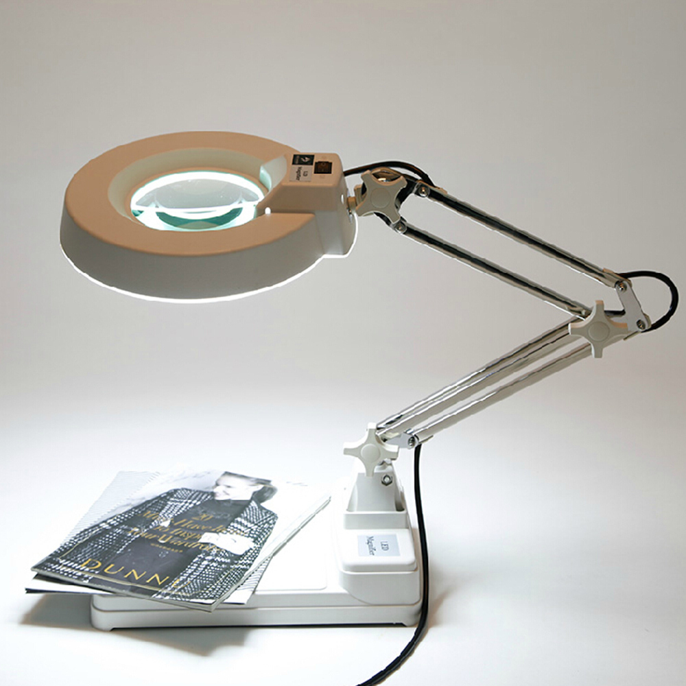 AC 220V 10X Desktop Table Lamp Magnifer with Optical Glass Folding Stand for PCB Precision Parts Inspection 220v 10x clip on big magnifying glass lamp magnifier with white optical glass folding stand for pcb precision parts inspection