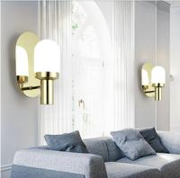 Modern Concise Art Fashion Gold Glass Wall Lamp Cafe Restaurant Bedroom Livingroom Office Aisle Decoration Lamp Free Shipping