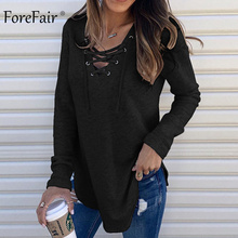 Forefair Casual Trend Cross Long Sleeve Shirt Women Winter Black White Lace Up Sexy V Neck Plus Size Shirt Women