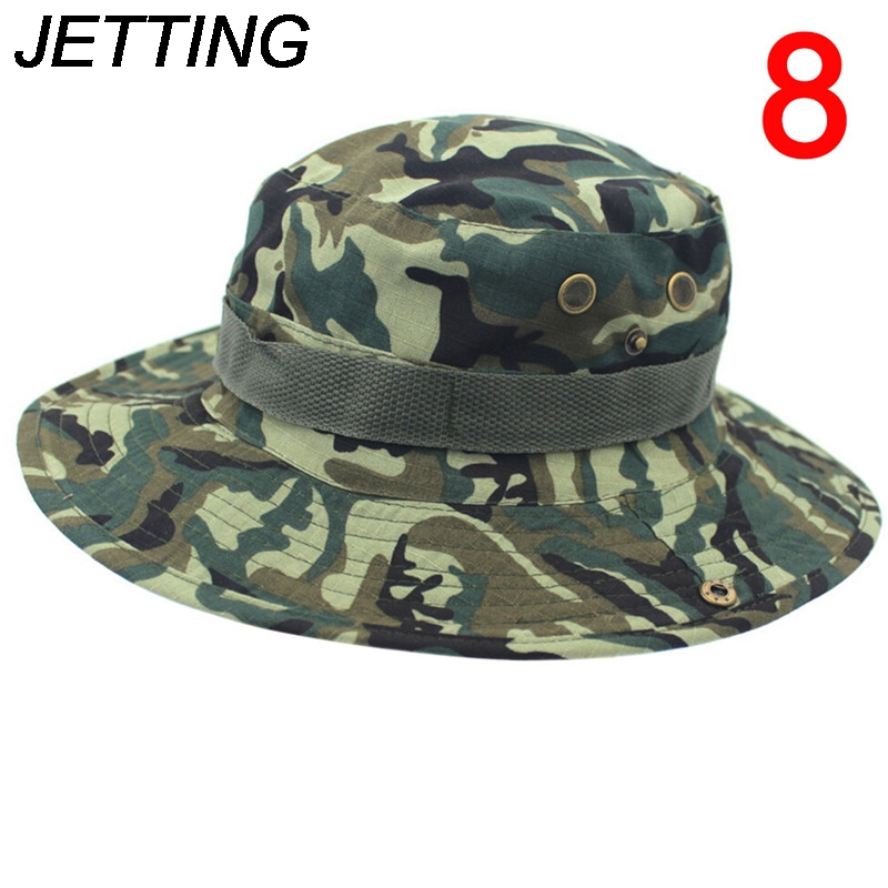 1Pc Men Women Camouflage Bucket Hat With String Fisherman Cap Military Panama Safari Boonie Sun Hats Cap