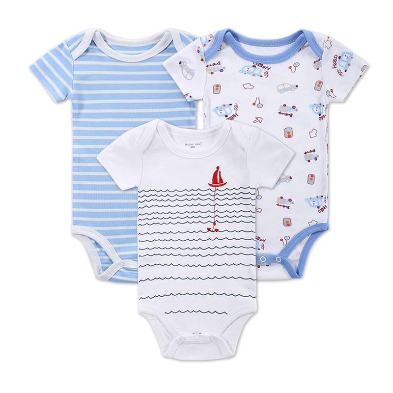 Baba lány fiú Romper újszülött rövid ujjú ruhák baba ruha 100% pamut 3 db / tétel csecsemő Jumpsuit ruhák gyerek ruhák