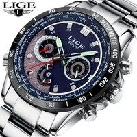 Мода 2017 г. Элитный бренд LIGE хронограф для мужчин спортивные часы водостойкие полный сталь повседневное кварцевые