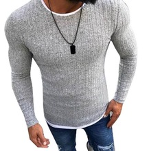 2018 Men s Autumn Casual Thin Skinny Sweaters O Neck Fashion Bodybuilding Basic Sweater Pullovers Plus