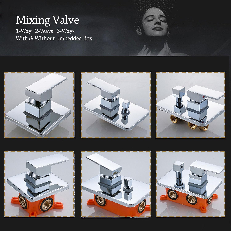 Chrome Mixing Valve Wall Mount Brass Diverter Valve Plastic Embedded box 1-3 way фонокорректоры audio valve sunilda silver chrome