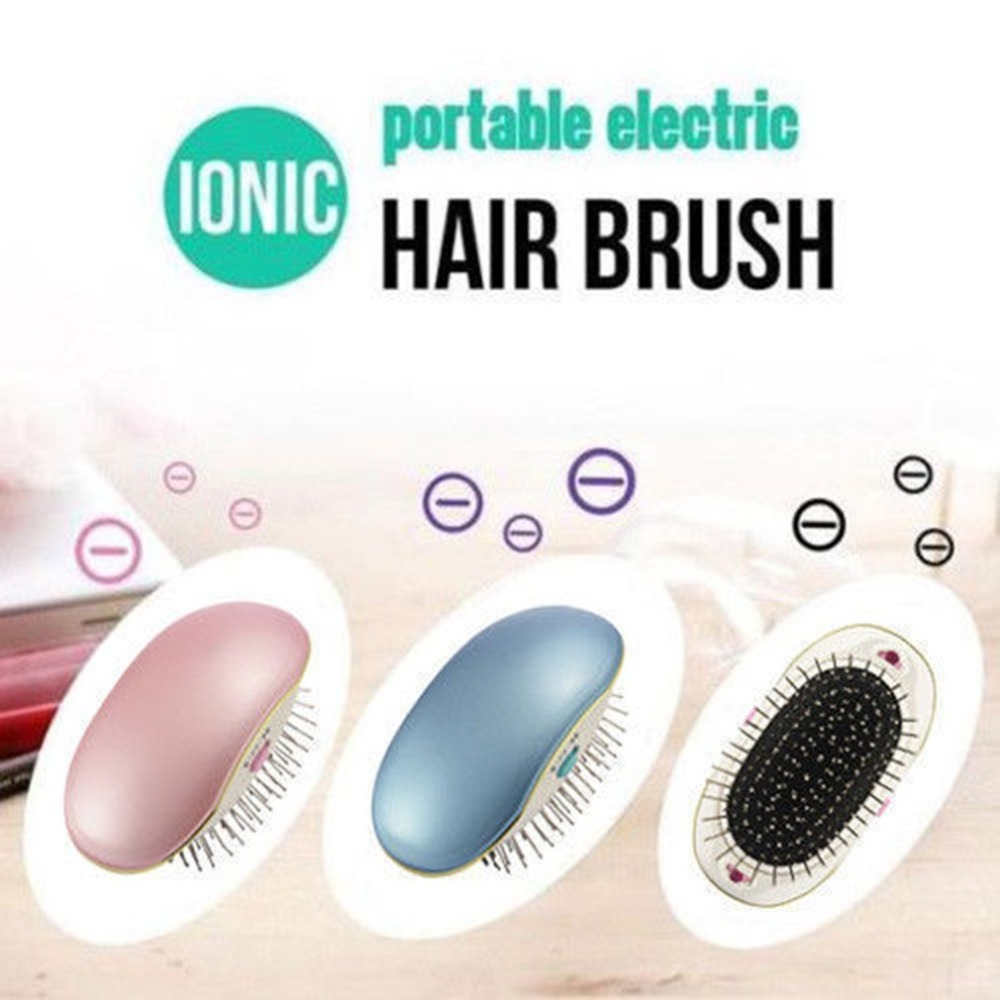 Anti-static Electric Ionic Hair Comb Brush Head Massage Relax Travel Frizz Free Smooth Portable Hair Styling Tools green sandalwood combed wooden head neck mammary gland meridian lymphatic massage comb wide teeth comb