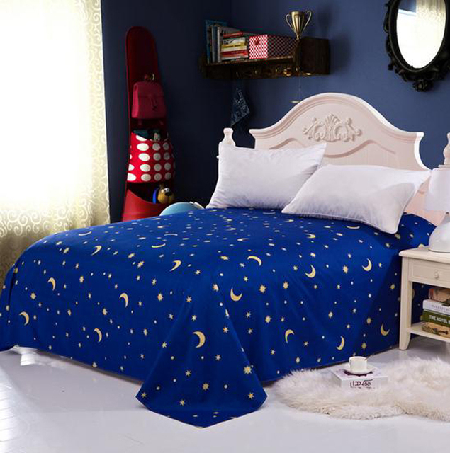 Blue Star Flat Sheets Double Queen King Size European Printed Single