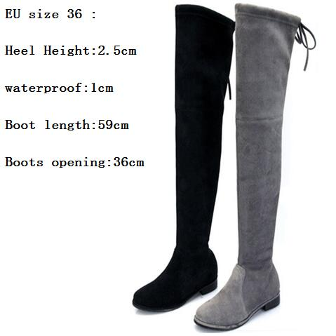 7696602dc17 Hot autumn winter women genuine leather flats heel thigh high suede boots  elastic slim long boots lowland boots shoes women -in Over-the-Knee Boots  from ...