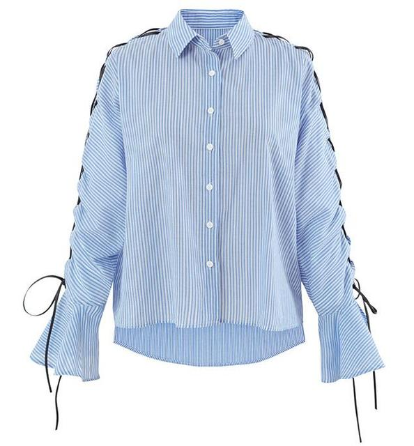 01792c95d 2017 Womens Sky Blue Striped Tops - Long Sleeves Lace-up Crossover Cords  Tied Blouse Shirt With Flared Cuffs Buttons Up