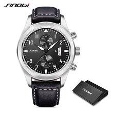 SINOBI Horloge Mannen Militaire Chronograaf Horloges Luxe Merk Datum Lederen Klok Mannelijke Sport Shock Genève Quartz Horloges