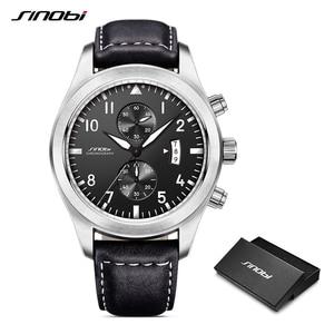 Image 1 - SINOBI Watch Men Military Chronograph Wrist Watches Luxury Brand Date Leather Clock Male Sports Shock Geneva Quartz Wristwatches
