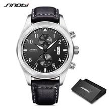 Sinobi relógio masculino militar cronógrafo relógios de pulso luxo marca data couro relógio masculino esportes choque genebra quartzo