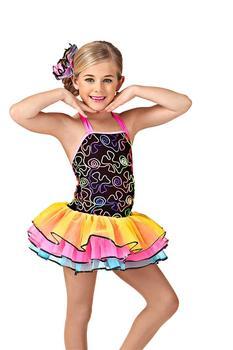 Children's 3 Layers Ballet Dance Dress Girls Ballet Dancing Dress Kids Colorful Flower Embroidered Dress Stage Costume D-0456
