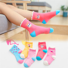 5Pairs/Lot childrens socks cotton autumn &winter cartoon tube fashion girls Breathable Cotton Kid Girls