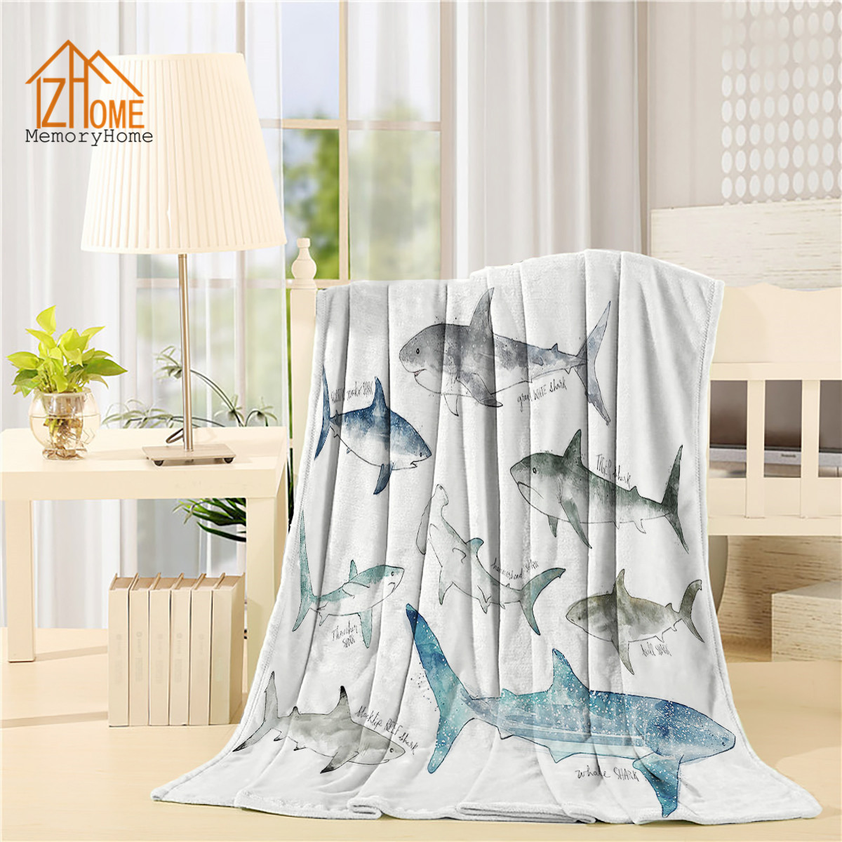Memory Home Custom Fleece Blanket Throw Collection Types of Sharks Sea Animal Pattern Baby Adults Super Warm Bed Black Blanket