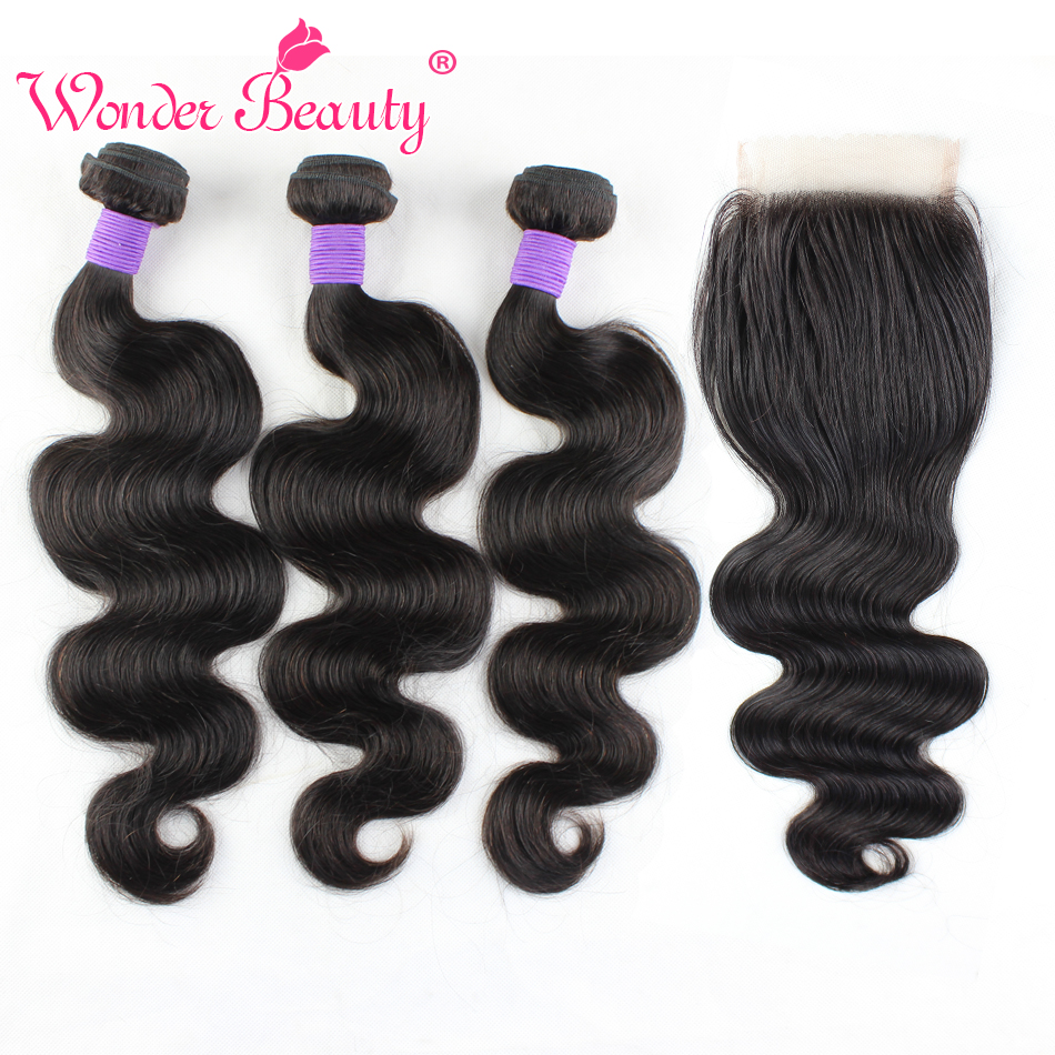 Brazilian Virgin Hair Bundles with Closure 3 Bundles Brazilian Body Wave with Closure Human Hair Extension Brazilian Hair Weave