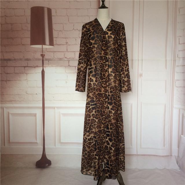 2016 leopard gasa cardigan chilaba turco Musulmán ropa de mujer abrigo largo dubai moda de alta calidad de la rebeca outwear