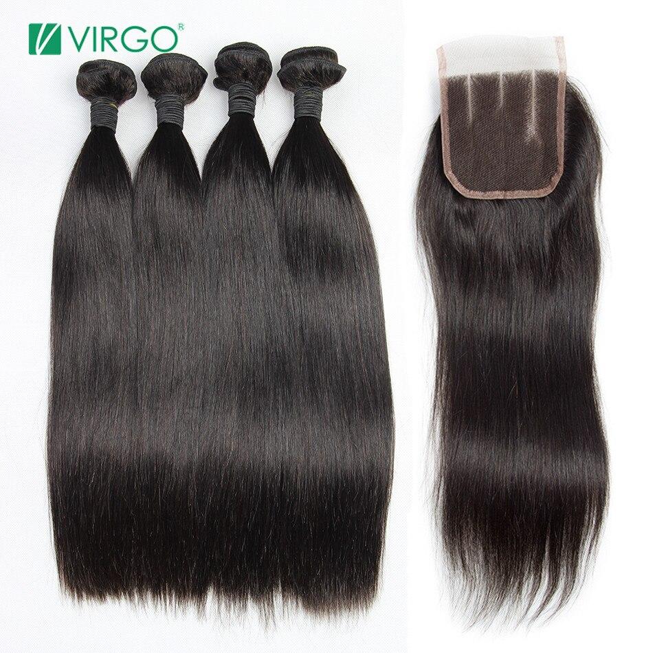 Vierge Brésilienne Cheveux Raides Vierge Cheveux Bundles avec Fermeture 4 pcs/lot 100% Extensions de Cheveux Humains Peuvent être Teints/Blanchi