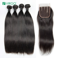 Virgo Brazilian Straight Hair Virgin Hair Bundles with Closure 4 PCS/Lot 100% Human Hair Extensions Can be Dyed/Bleached