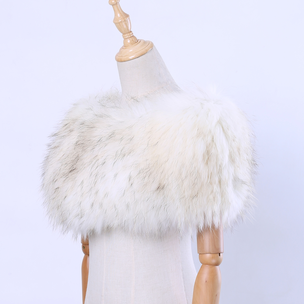 Genuine Real Fox Fur Raccoon Fur Women's   Scarf     Wraps   Shawl Fur Lady WinterPullover Cape Shrugs Fashion   Scarves   With Elastic