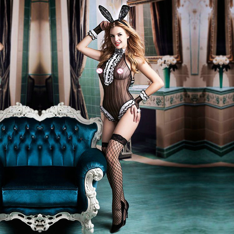new porn women bunny costumes for role-playing games erotic sex suits lingerie lace floral bodystocking sexy underwear 9731