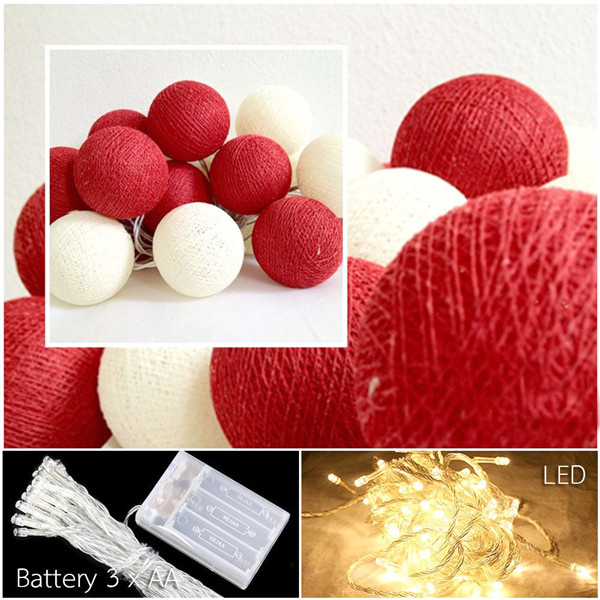 20pcs/set Red+white Cotton Balls Led Battery Powered String Lights Fairy,  Decor