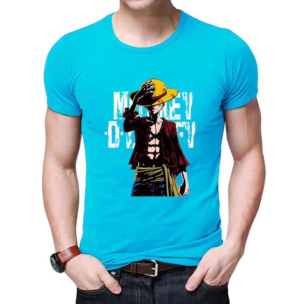 One Piece O-neck Printed Cotton T shirt - animefunstore