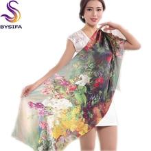 Дамы тутового шелка длинный шарф Обертывания Горячая виноградный цветок размера плюс шелковый шарф благородный элегантный женский шаль накидка 178*55 см зеленый