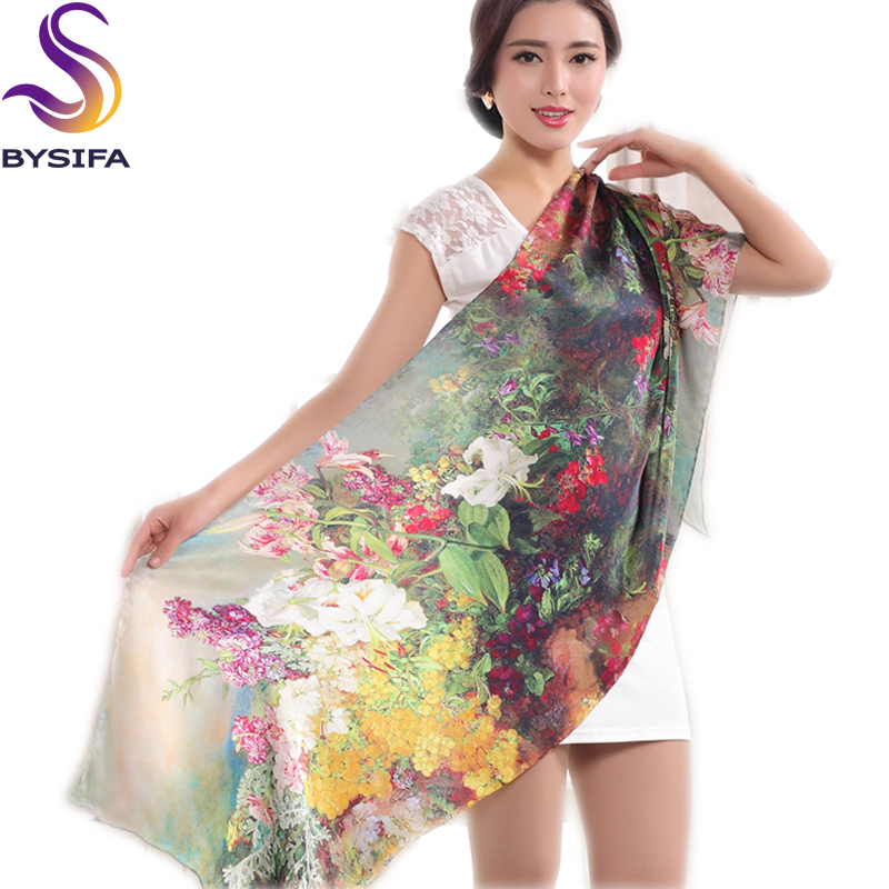 Ladies Mulberry Silk Long   Scarf     Wraps   Hot Sale Grape Flower Plus Size Silk   Scarf   Noble Elegant Female Shawl Cape 178*55cm Green