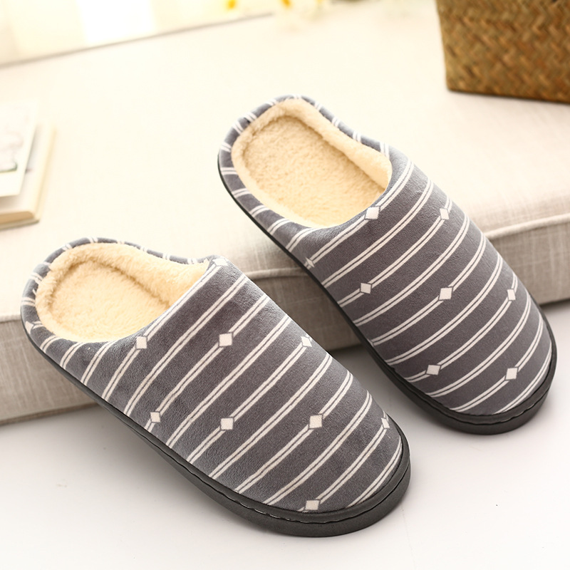 Checkered striped side line indoor home cotton slippers Winter couple warm cotton slippers cotton shoes Home cotton shoes striped side sweatpants