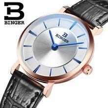 Suisse BINGER femmes montres marque de luxe quartz bracelet en cuir ultra-mince Montres Étanche 1 année Garantie B9013W-8