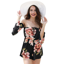 0803db33233 New Sexy Women Floral Print Off Shoulder Jumpsuit Bell Sleeves Backless  Lady Rompers Casual Summer Short. 4 Colors Available