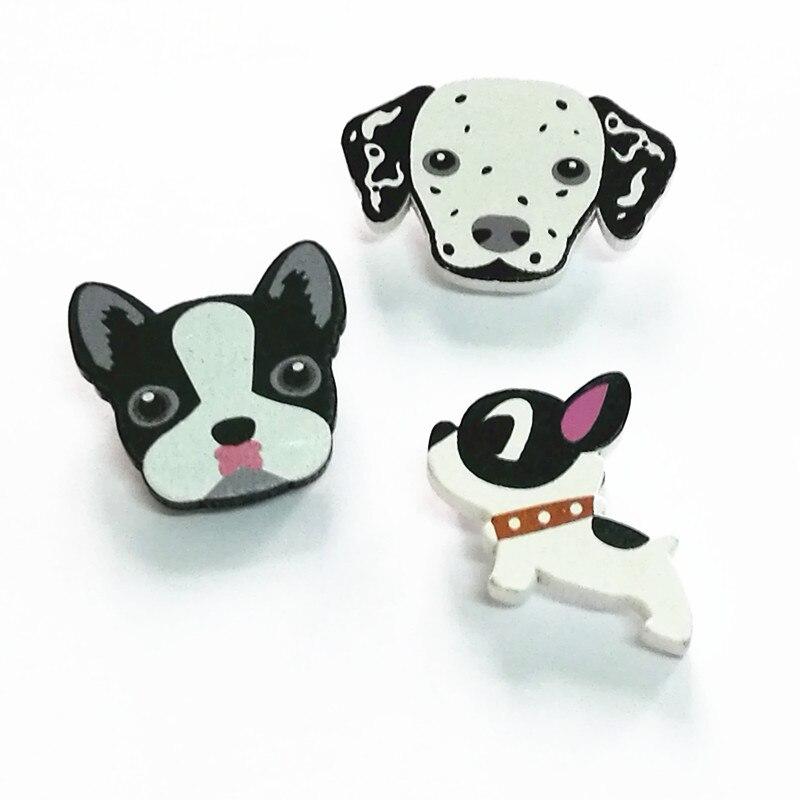 Timlee X139 Cartoon Cute Dog Bulldog Pet Wood Brooch Pins