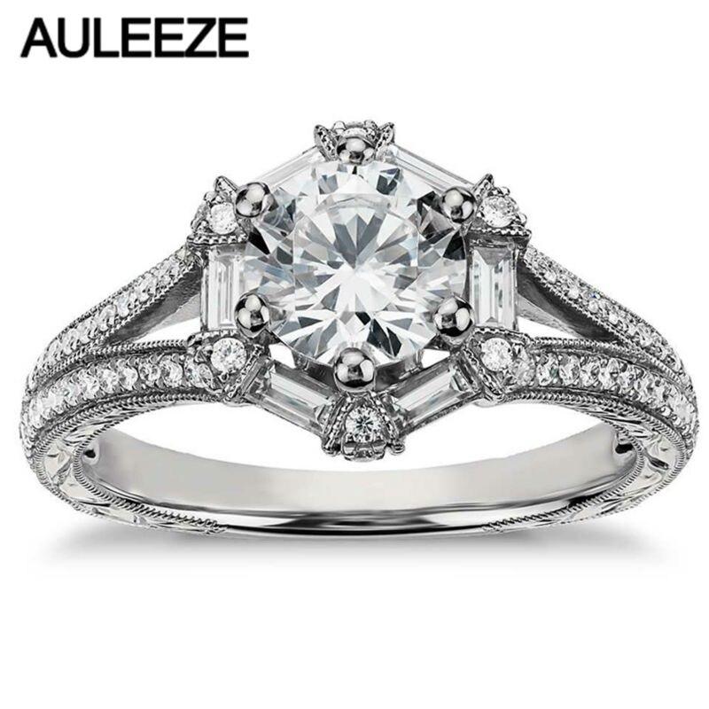 1 каратни Моиссанитес прстен шестерокутни багуетте прави дијамантни накит од пуног прстена од 14К бијелог злата прстен за жене