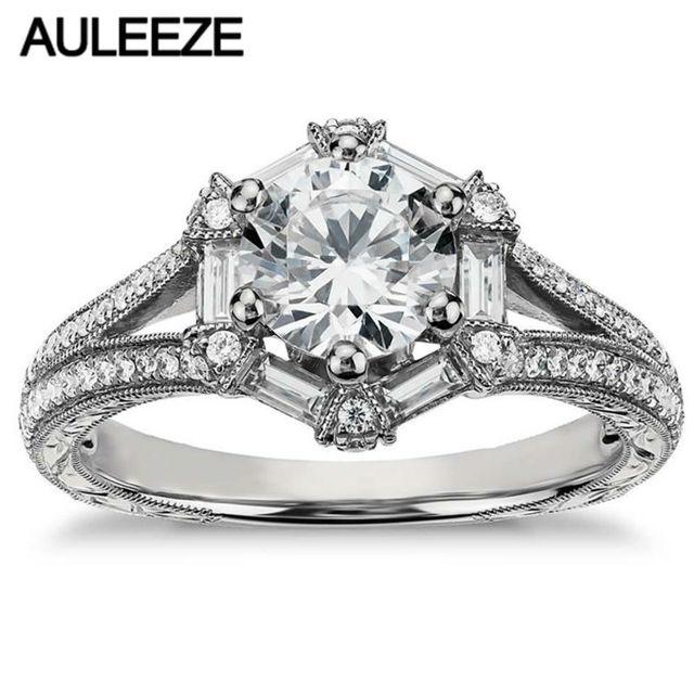 502e62e2b642 1 quilate céltico anillo hexagonal Baguette Real joyas de diamantes 14 K  oro blanco anillo de