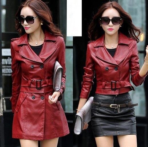 2 Stil Tragen Rand Abnehmbare Damen Faux Leder Jacke Frauen Zweireiher Langen Graben Leder Jacke Frau Mantel Mit Gürtel