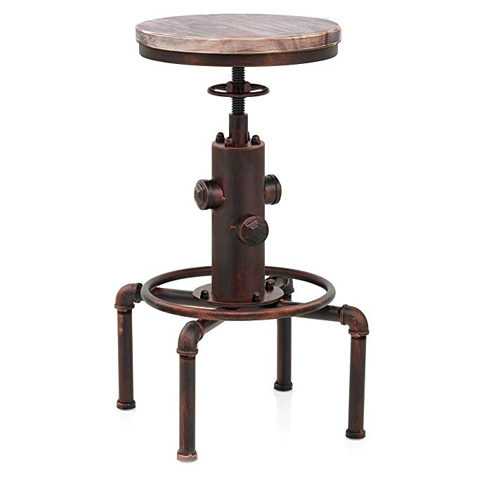 Topower Bar Chairs Antique Vintage Industrial Solid Wood Water Pipe Cafe Coffe Industrial Adjustable Seat Bar Stool Modern Home