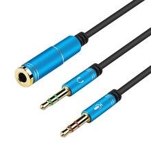 3.5mm אוזניות סטריאו אודיו מיקרופון Y ספליטר, 3.5mm אודיו + מיקרופון כדי 4 מוט שקע Aux מתאם עבור 4 פינים 3.5mm תקע אוזניות