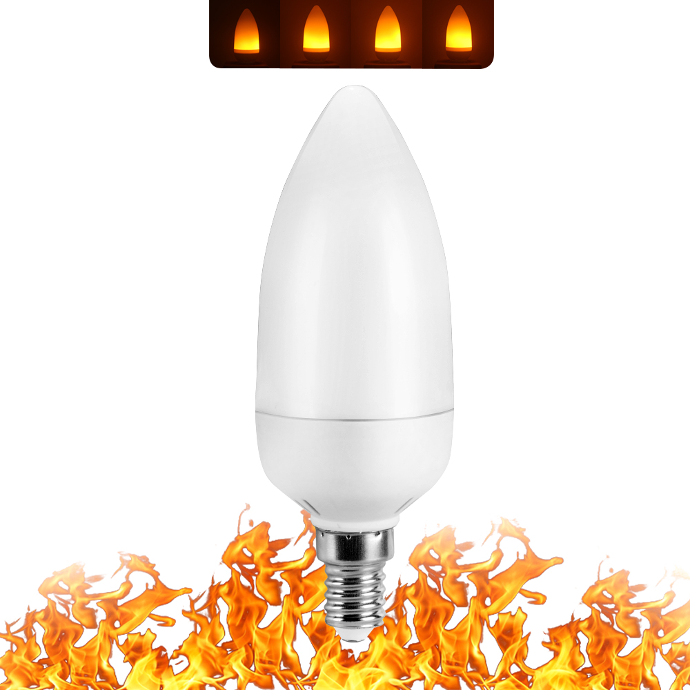 Image 2 - Full Model 3W 5W 7W 9W E27 E26 E14 E12 Flame Bulb 85 265V LED Flame Effect Fire Light Bulbs Flickering Emulation Decor LED Lamp-in LED Bulbs & Tubes from Lights & Lighting