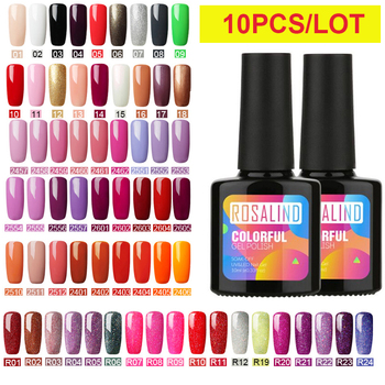 (Choose 10)ROSALIND 10ML Gel Nail Polish Set For Manicure Soak off UV Nail Art Fresh Color Manicure Primer Gel Polish LacquerKit