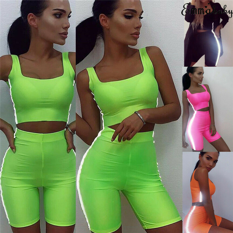 2019 New Women Sexy Set Sleeveless Sports Vest  Shorts Fluorescent Gym Running Fitness Tracksuit