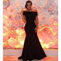 2016 Fashion Black Off the Shoulder Short Sleeve Beaded Mermaid Bridesmaid Dresses
