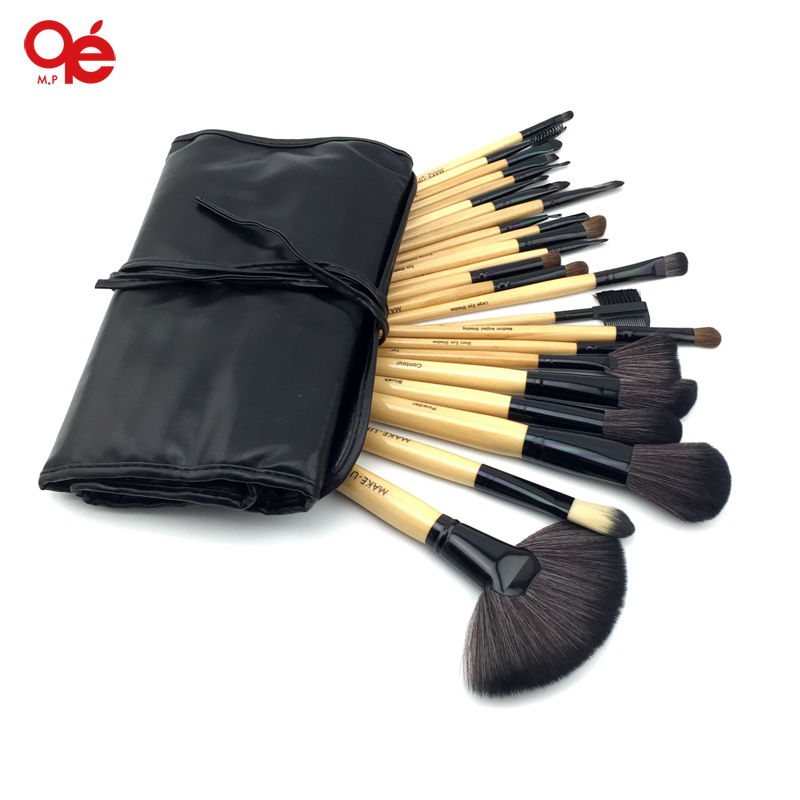 HOT! Profesionāli 24 gab. Aplauzuma birstes Set Tools Make-up tualetes piederumu komplekts vilnas zīmols Make Up Brush Set Case Free Shipping