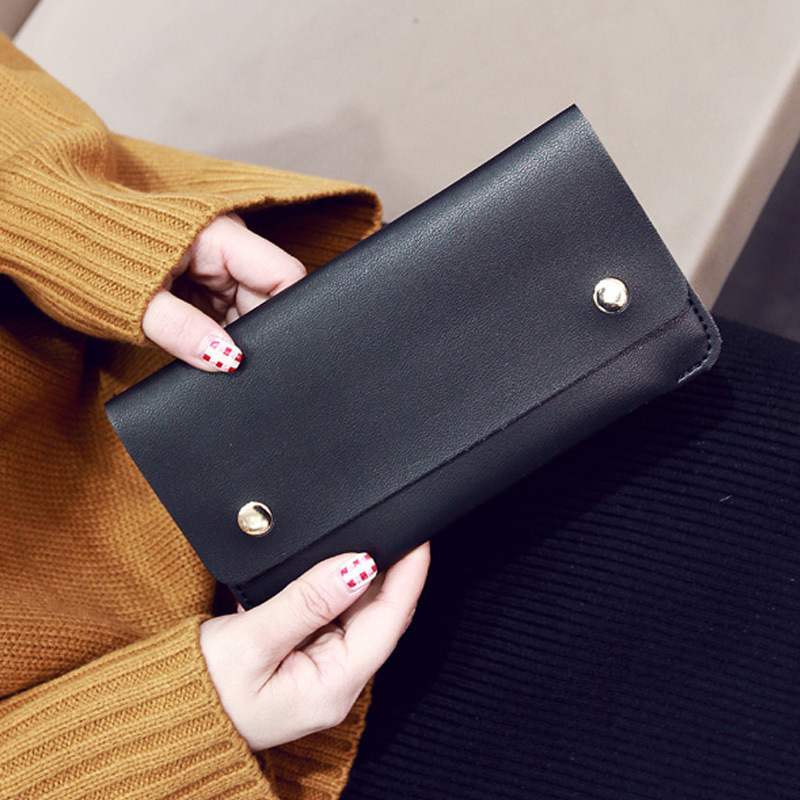 BLEVOLO PU Leather Clutch Bags Lady Slim Long Wallet Solid Hasp Women Wallets Korean Style Female Purse 4 Colors Handbag Wallet