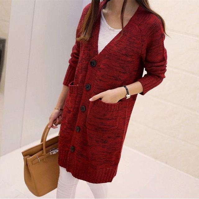 S-xl2016 en primavera y otoño nueva loose suéter cuello de la chaqueta V thin manga larga cardigan mujer abrigo de suéter largo JN096